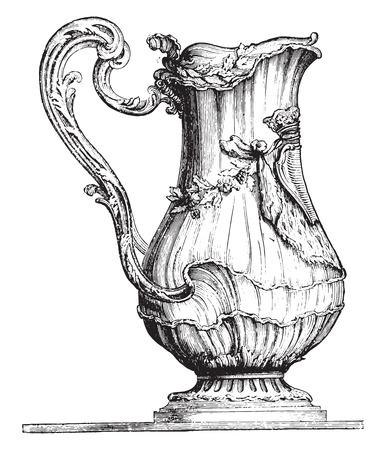 Water pot, vintage gegraveerde illustratie. Industrial encyclopedie E.-O. Lami - 1875. Stock Illustratie