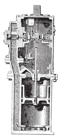 Water meter, Samain system, vintage engraved illustration. Industrial encyclopedia E.-O. Lami - 1875. 向量圖像