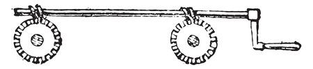 simultaneous: Mechanism simultaneous settlement of two screws, vintage engraved illustration. Industrial encyclopedia E.-O. Lami - 1875.
