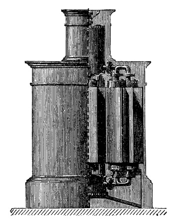 Stove steam and hot water, vintage engraved illustration. Industrial encyclopedia E.-O. Lami - 1875.