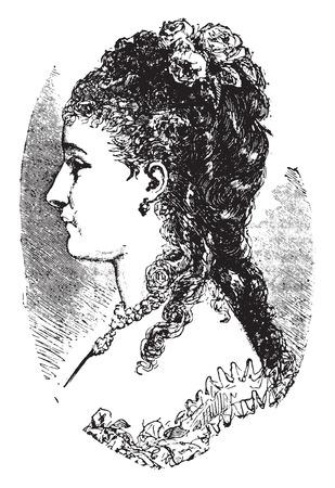 Hairdressing 1882-1883, vintage engraved illustration. Industrial encyclopedia E.-O. Lami - 1875. Illustration