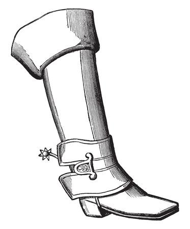 louis: Military boot under Louis XIV, vintage engraved illustration. Industrial encyclopedia E.-O. Lami - 1875.