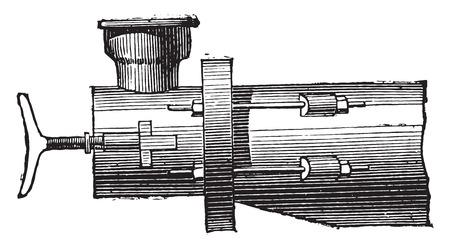elevation: Gas retort, elevation, vintage engraved illustration. Industrial encyclopedia E.-O. Lami - 1875.