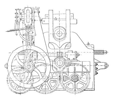 dibujo tecnico: Máquina dobladora, ilustración de la vendimia grabado. E.-O. enciclopedia Industrial Lami - 1875.