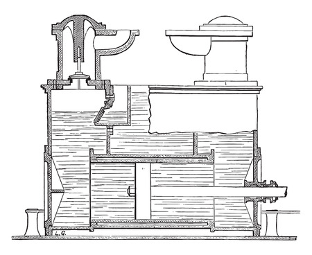 Hydraulic piston compressor, vintage engraved illustration. Industrial encyclopedia E.-O. Lami - 1875. Illustration