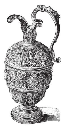 antique vase: Pewter Ewer, vintage engraved illustration. Industrial encyclopedia E.-O. Lami - 1875.