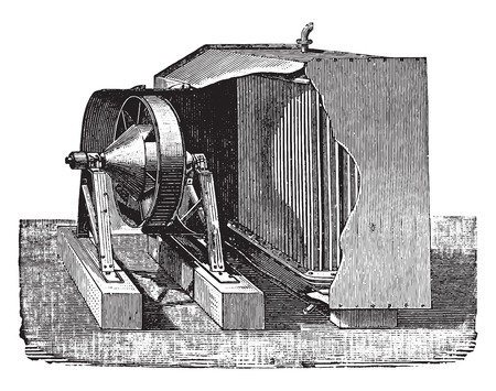 condenser: Dry air condenser, vintage engraved illustration. Industrial encyclopedia E.-O. Lami - 1875. Illustration