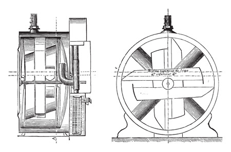gas meter: Gas meter, invariable measure, vintage engraved illustration. Industrial encyclopedia E.-O. Lami - 1875.