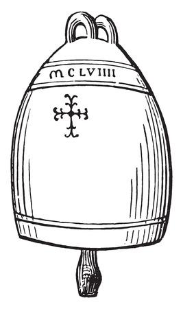 Bell Siena twelfth century, vintage engraved illustration. Industrial encyclopedia E.-O. Lami - 1875.
