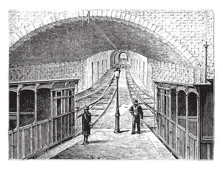 railway history: View the funicular railway La Croix-Rousse in Lyon, vintage engraved illustration. Industrial encyclopedia E.-O. Lami - 1875.
