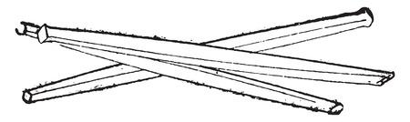 gouge: Chisels, vintage engraved illustration. Industrial encyclopedia E.-O. Lami - 1875. Illustration