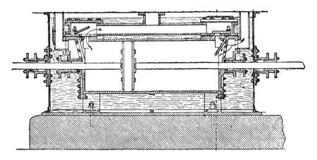 Longitudinal section of the compressor cylinder, vintage engraved illustration. Industrial encyclopedia E.-O. Lami - 1875.
