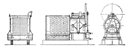 condenser: Condenser humid air, vintage engraved illustration. Industrial encyclopedia E.-O. Lami - 1875.