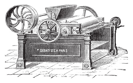 Three roll mill, vintage engraved illustration. Industrial encyclopedia E.-O. Lami - 1875. Illusztráció