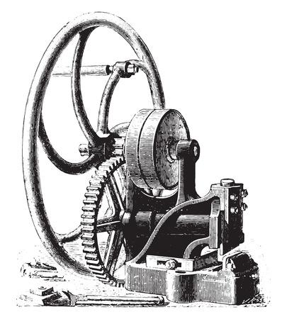 the encyclopedia: Guillotine, vintage engraved illustration. Industrial encyclopedia E.-O. Lami - 1875. Illustration