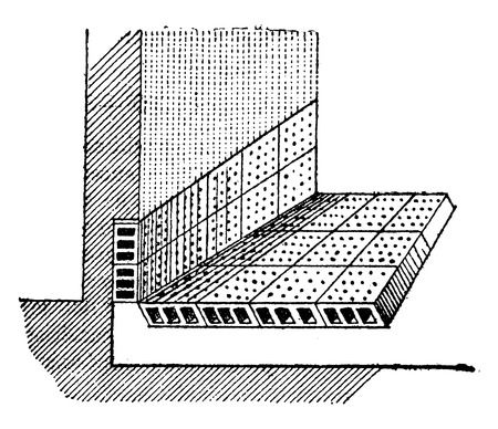 perforated: Fund dewatering with perforated bricks, vintage engraved illustration. Industrial encyclopedia E.-O. Lami - 1875.