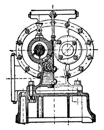 First cross section of the Greindl pump, vintage engraved illustration. Industrial encyclopedia E.-O. Lami - 1875.