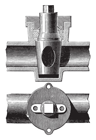 stopcock: Stopcock, vintage engraved illustration. Industrial encyclopedia E.-O. Lami - 1875. Illustration