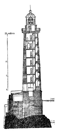 Vertical section of Ar Men lighthouse, vintage engraved illustration. Industrial encyclopedia E.-O. Lami - 1875.