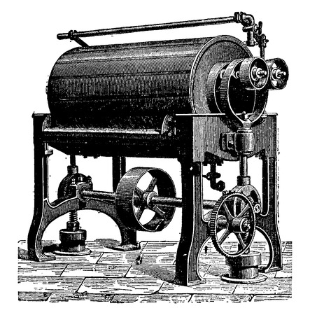 Turning or rotary purifier, vintage engraved illustration. Industrial encyclopedia E.-O. Lami - 1875.