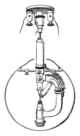 incandescent: Incandescent lamp vent Reynier, vintage engraved illustration. Industrial encyclopedia E.-O. Lami - 1875. Illustration