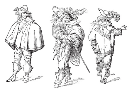 seventeenth: French gentlemen after Abraham Bosse (seventeenth century), vintage engraved illustration. Industrial encyclopedia E.-O. Lami - 1875.