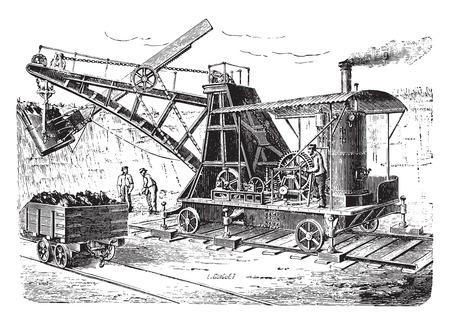 railway history: Dredge spoon on wagon, vintage engraved illustration. Industrial encyclopedia E.-O. Lami - 1875.