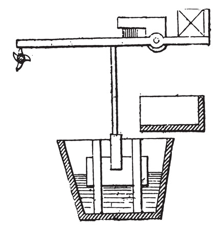 pulley: Moving mechanical sieve, vintage engraved illustration. Industrial encyclopedia E.-O. Lami - 1875.