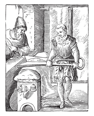 The draper in the sixteenth century, after an engraving of the time, vintage engraved illustration. Industrial encyclopedia E.-O. Lami - 1875. Vettoriali
