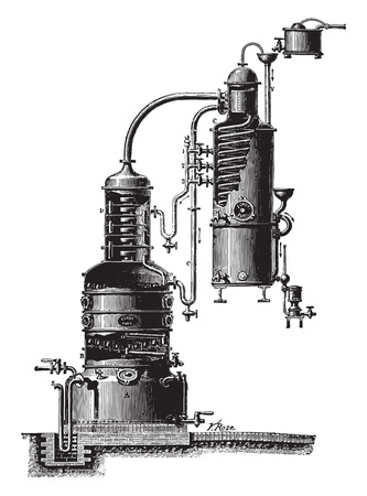 Egrot device, vintage engraved illustration. Industrial encyclopedia E.-O. Lami - 1875.