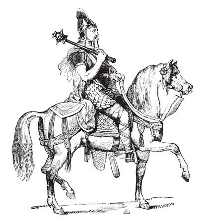 old horse: Chief Franks, vintage engraved illustration. Industrial encyclopedia E.-O. Lami - 1875. Illustration
