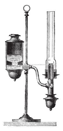 Constant lamp, vintage engraved illustration. Industrial encyclopedia E.-O. Lami - 1875.