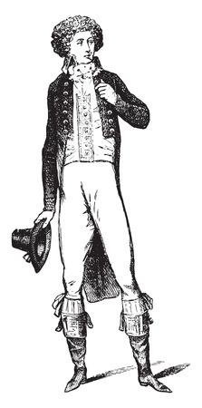 beginnings: Costume beginning of the Revolution, vintage engraved illustration. Industrial encyclopedia E.-O. Lami - 1875.