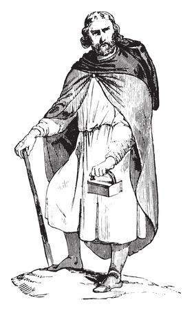 gallic: Gallic traveling costume, vintage engraved illustration. Industrial encyclopedia E.-O. Lami - 1875. Illustration