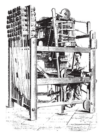 Art for the mechanical manufacturing corsets without seams, vintage engraved illustration. Industrial encyclopedia E.-O. Lami - 1875. Ilustração