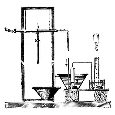 Unité de Sainte-Claire Deville pour séparer le gaz, illustration vintage gravé. E.-O. encyclopédie industrielle Lami - 1875.