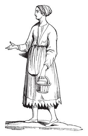 french countryside: Gallic woman, vintage engraved illustration. Industrial encyclopedia E.-O. Lami - 1875.