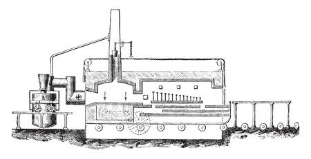 gas fireplace: Poma-device Venini, vintage engraved illustration. Industrial encyclopedia E.-O. Lami - 1875.