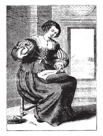 seventeenth: Bourgeoisie after Michel Lasne (seventeenth century), vintage engraved illustration. Industrial encyclopedia E.-O. Lami - 1875.