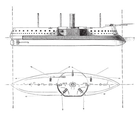 artillery: Devastation, French battleship, vintage engraved illustration. Industrial encyclopedia E.-O. Lami - 1875.