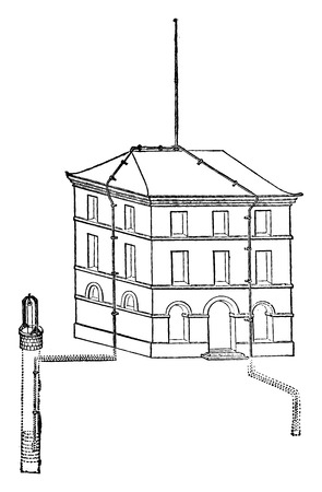 Provision of a lightning rod, mounted on a building, vintage engraved illustration. Industrial encyclopedia E.-O. Lami - 1875.