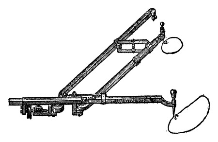 Planimeter amplifier for measuring small areas., vintage engraved illustration. Industrial encyclopedia E.-O. Lami - 1875.