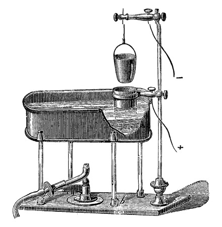 apparatus: An apparatus for the determination of lead by electrolysis, vintage engraved illustration. Industrial encyclopedia E.-O. Lami - 1875.