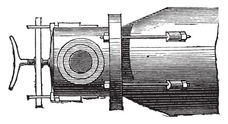 retort: Gas retort, plan, vintage engraved illustration. Industrial encyclopedia E.-O. Lami - 1875.