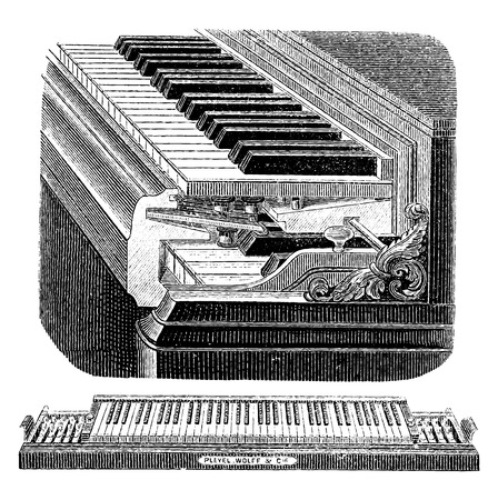old piano: Transposing keyboard, vintage engraved illustration. Industrial encyclopedia E.-O. Lami - 1875.