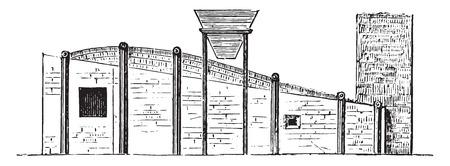 elevation: Swansea melting furnace, Side elevation, vintage engraved illustration. Industrial encyclopedia E.-O. Lami - 1875.