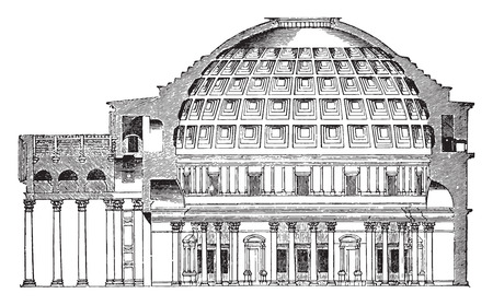 pantheon: Dome of the Pantheon Cup in Rome, vintage engraved illustration. Industrial encyclopedia E.-O. Lami - 1875.
