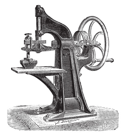 vintage colors: Mechanical grinding of the wheel to the colors, vintage engraved illustration. Industrial encyclopedia E.-O. Lami - 1875.