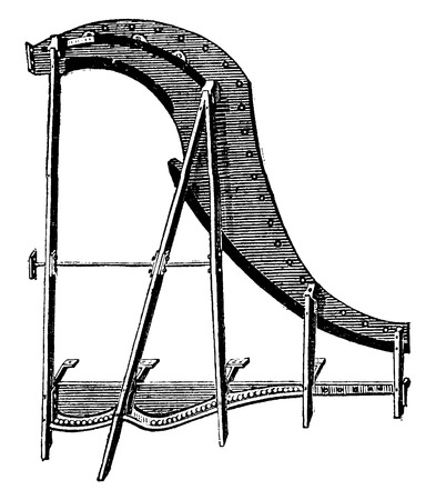 old piano: Wrought iron frame for grand piano, vintage engraved illustration. Industrial encyclopedia E.-O. Lami - 1875.