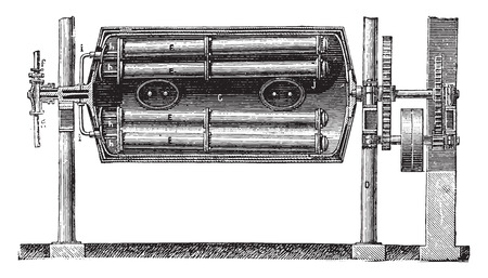 boiler: Boiler body - Heating pipes, arrival tubes of steam and laundry, steam distribution pipes, vintage engraved illustration. Industrial encyclopedia E.-O. Lami - 1875.
